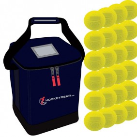 Clubmaterialen bulk - Hockeyballen - Hockeyballen clubs - Hockeygear shop - Referee, coach en trainer - kopen - 24 dimple wedstrijdballen geel incl. Hockeygear.eu tas navy