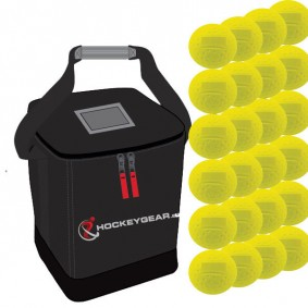Clubmaterialen bulk - Hockeyballen - Hockeyballen clubs - Hockeygear shop - Referee, coach en trainer - kopen - 24 dimple wedstrijdballen geel incl. Hockeygear.eu tas zwart