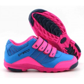 Brabo hockeyschoenen - Junior hockeyschoenen -  kopen - Brabo Velcro Blue / Pink JR hockeyschoenen met klittenbandsluiting