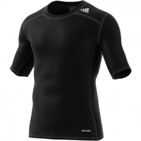Adidas Brandshop - Hockeykleding - Thermokleding -  kopen - Adidas Tech Fit Base Short Sleeve Tee Mens Zwart