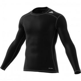 Adidas Brandshop - Hockeykleding - Thermokleding -  kopen - Adidas Tech Fit Base Long Sleeve Tee Mens Zwart