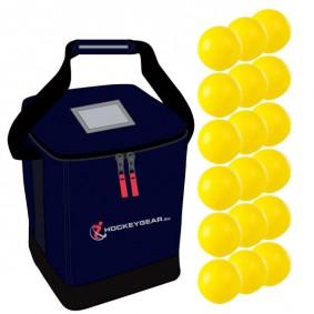 Clubmaterialen bulk - Hockeyballen - Hockeyballen clubs - Hockeygear shop - Referee, coach en trainer - kopen - 18 zaalhockeyballen geel incl. Hockeygear.eu tas navy