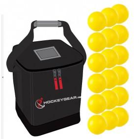 Clubmaterialen bulk - Hockeyballen - Hockeyballen clubs - Hockeygear shop - Referee, coach en trainer - kopen - 18 zaalhockeyballen geel incl. Hockeygear.eu tas zwart