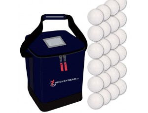 Clubmaterialen bulk - Hockeyballen - Hockeyballen clubs - Hockeygear shop - Referee, coach en trainer - kopen - 24 wedstrijdballen smooth incl. Hockeygear.eu tas navy