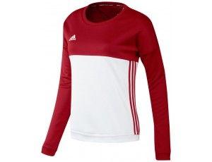 Adidas teamkleding - Hockey truien - Hockeykleding - T16 teamkleding - kopen - Adidas T16 Crew Sweat Women Red