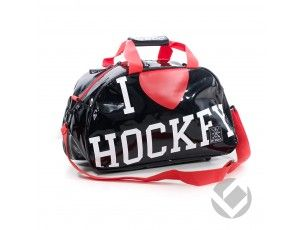Hockeytassen - Shoulderbags - kopen - Brabo Shoulderbag I Heart Hockey zwart rood