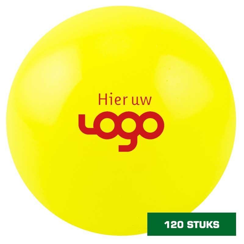 Uw logo op 120 zaalhockeybal geel